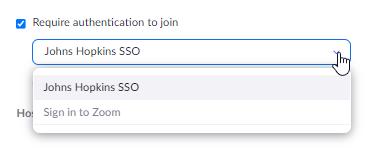Selecting Johns Hopkins SSO